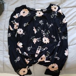 Long sleeve floral with front tie